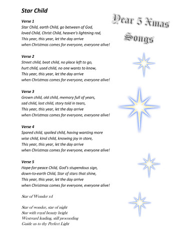 Cover-for-Yr-5-Star-Child-Get-Up-Lyrics-song-sheet