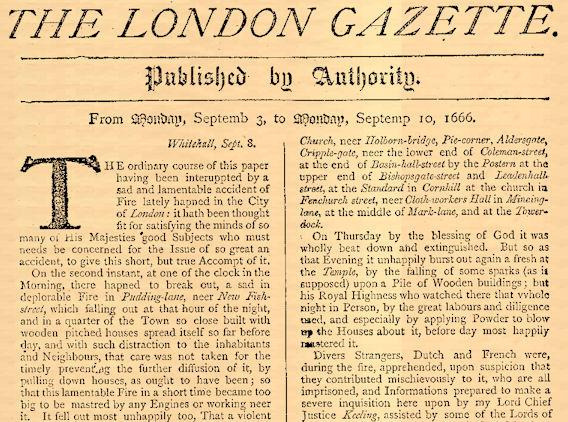 London Gazette 1666